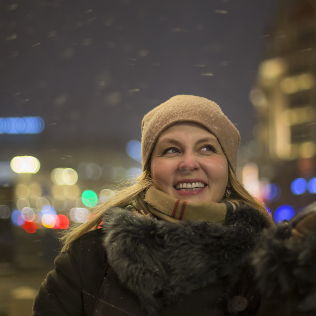 """""""Portrait of happy woman in the night city"""" stock image"""
