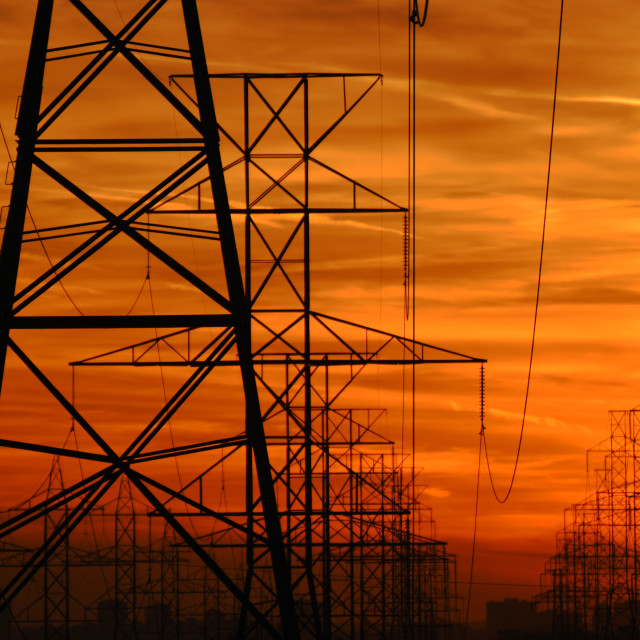 """Electricity Sunset"" stock image"
