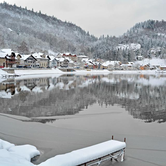"""Swiss Winter Lake"" stock image"