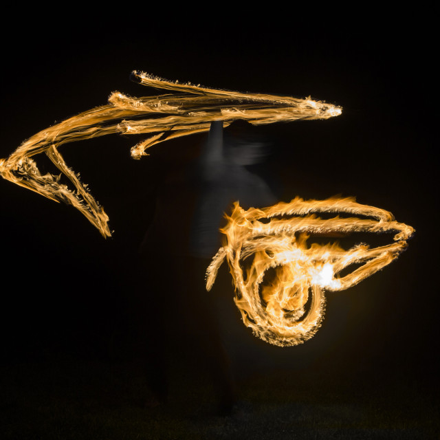 """Ghostly Fire Spinning"" stock image"