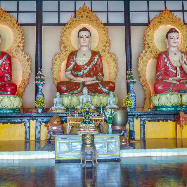 """""""3 Buddhas with Different Hand Positions"""" stock image"""