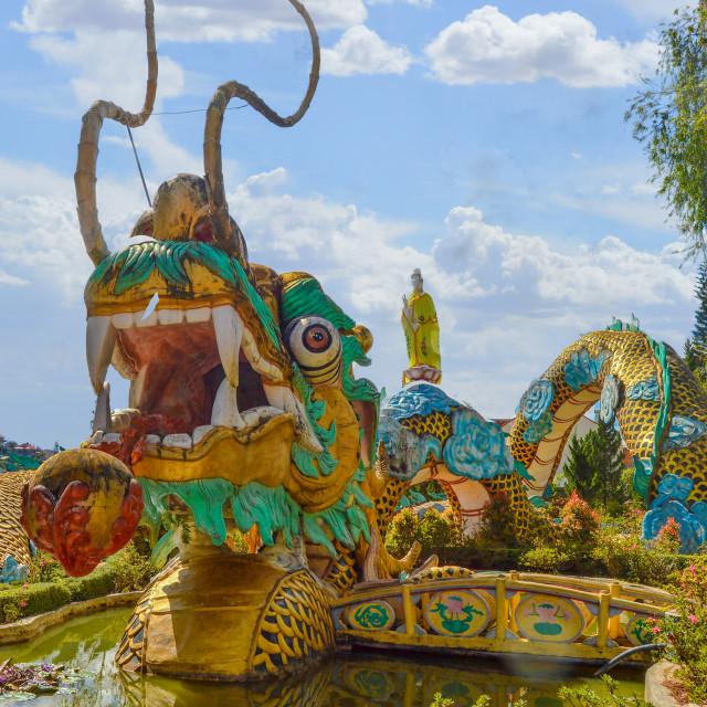 """Dalat Temple Colorful Dragon"" stock image"