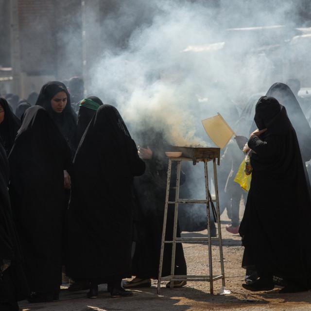 """Shia Muslim Women Lighting Incense During Chehel Menbari Festival On Tasua..."" stock image"