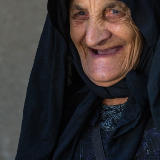 """""""An Elderly Iranian Shiite Woman During The Chehel Manbar Ceremony One Day..."""" stock image"""