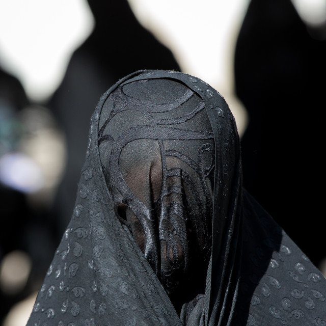 """Iranian Shiite Muslim Woman Mourning Imam Hussein On The Day Of Tasua With..."" stock image"