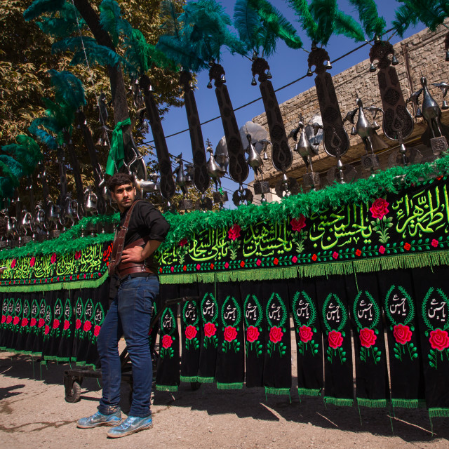 """Iranian Shiite Muslim Men In Front Of An An Alam On Tasua Celebration,..."" stock image"