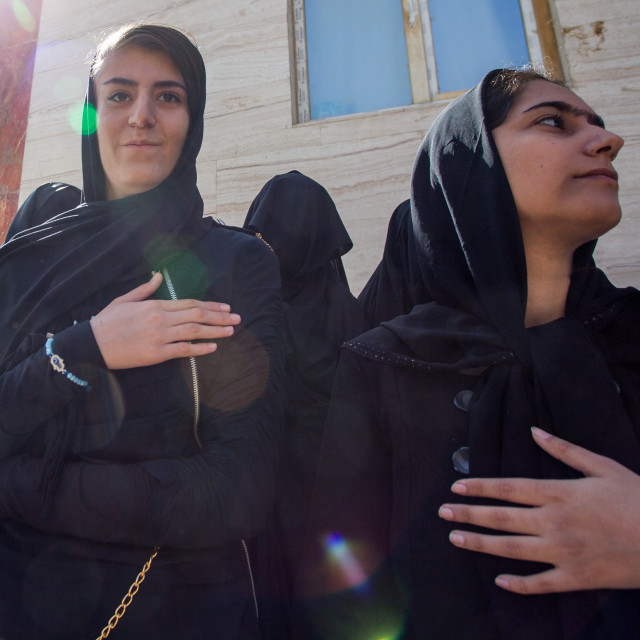 """Iranian Shiite Women During The Chehel Manbar Ceremony One Day Before Ashura,..."" stock image"