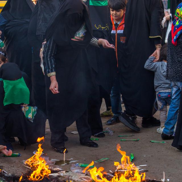"""Iranian Women Light Candles During Chehel Menbari Festival On Tasua To..."" stock image"