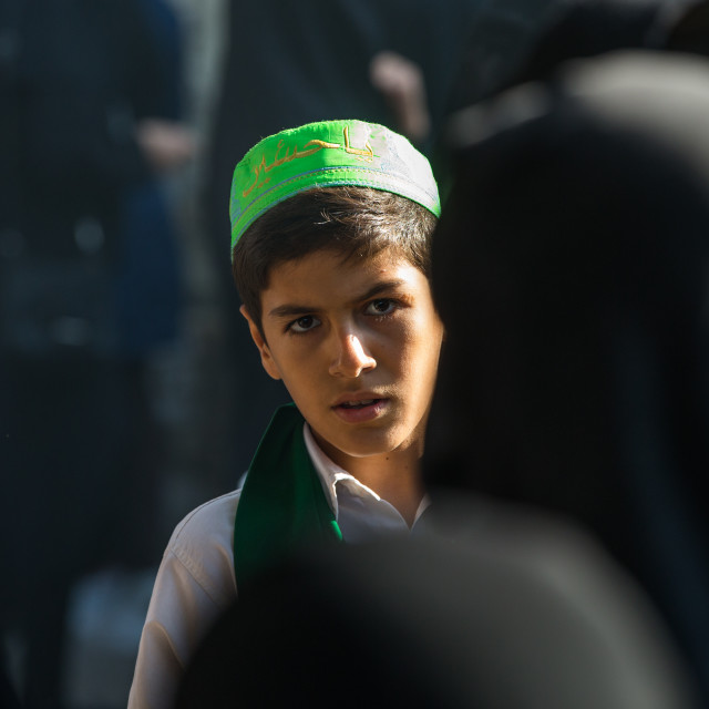 """An Iranian Shiite Boy During Tasua Celebrations One Day Before Ashura,..."" stock image"