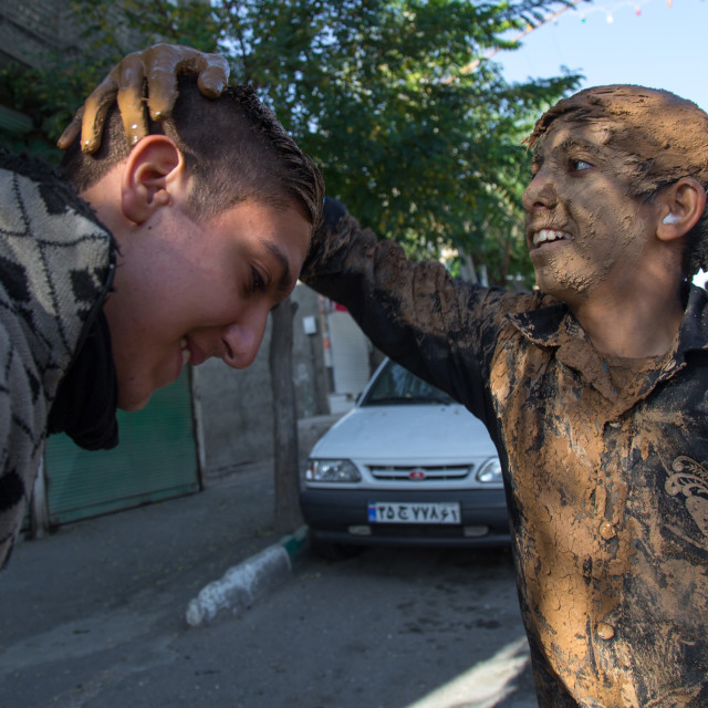"""Iranian Shiite Muslim Men Covering With Mud During Ashura Day, Kurdistan..."" stock image"