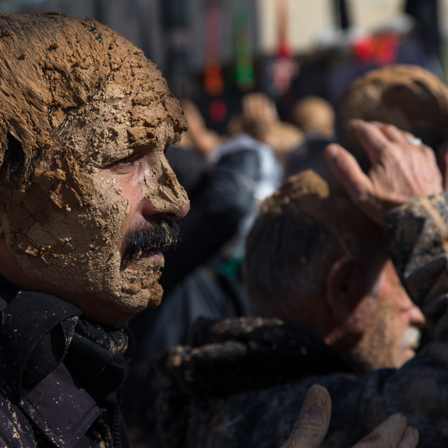 """Iranian Shiite Muslim Man Covered In Mud During Ashura Day, Kurdistan..."" stock image"