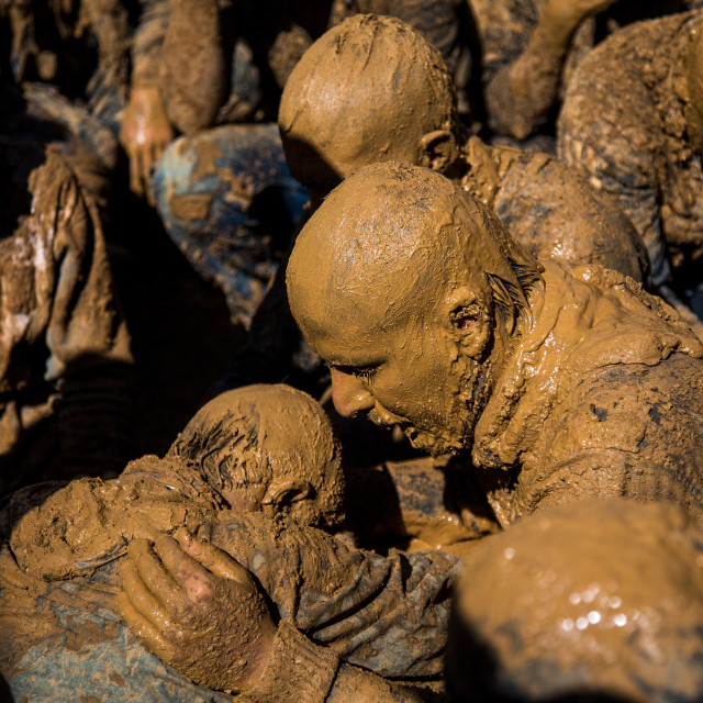 """Iranian Shiite Muslim Men Covered In Mud Crying Together During Ashura, The..."" stock image"