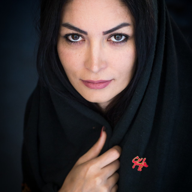 """""""Portrait Of An Iranian Beauty With An Iman Hussein Badge, Yazd Province,..."""" stock image"""