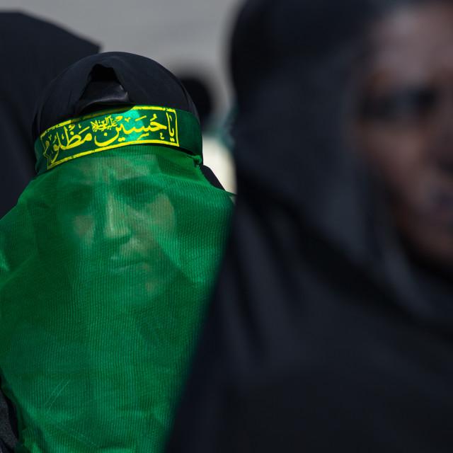 """Iranian Shiite Muslim Women Mourning Imam Hussein On The Day Of Tasua With..."" stock image"