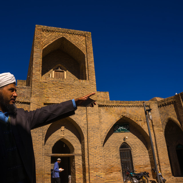 """""""Iranian Shiite Iman In The Courtyard Of An Old Caravanserai Turned Into..."""" stock image"""