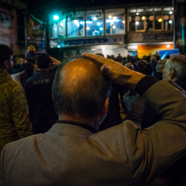 """Iranian Shiite Muslim Men Chanting And Self-flagellating During Ashura, The..."" stock image"