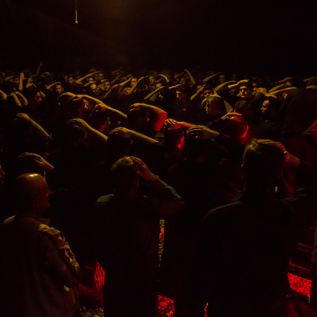 """""""Iranian Shiite Muslim Men In A Mosque Chanting And Self-flagellating During..."""" stock image"""