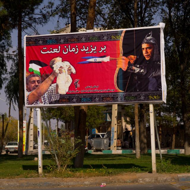 """Propaganda Billboard Depicting Obama With An Israeli Bow Killing A..."" stock image"