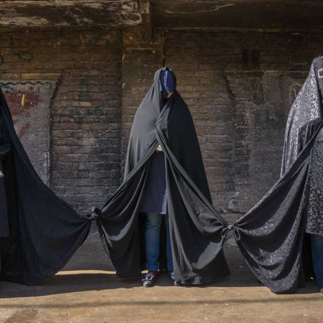"""Iranian Shiite Women Mourning Hussein On Tasua Day With Their Faces Covered..."" stock image"