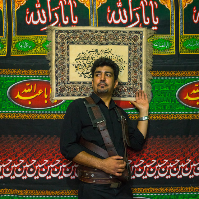 """Iranian Shiite Alam Porter During Chehel Menbari Festival On Tasua Day To..."" stock image"