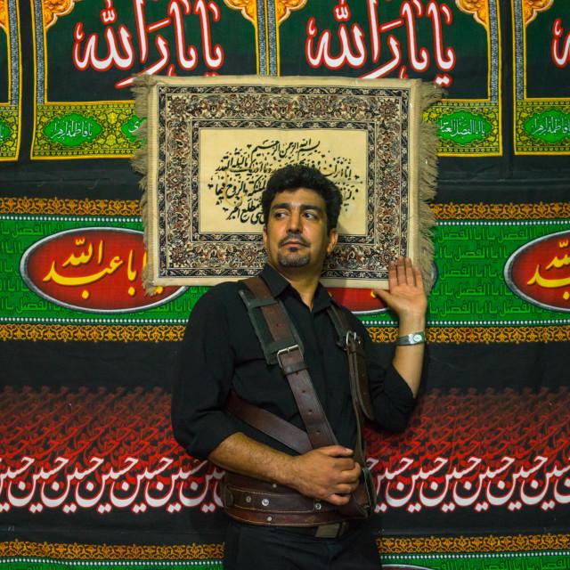 """Iranian Shiite Alam Porter During Chehel Menbari Festival On Tasua Day To..."" stock image"
