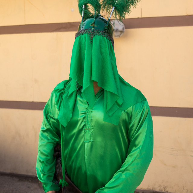 """Iranian Man With Green Historic Costume During Chehel Menbari Festival On..."" stock image"