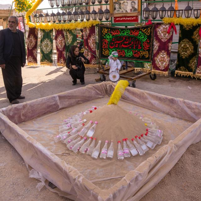 """Pool Of Rose Water And Soil To Make Mud For Ashura Celebration, Lorestan..."" stock image"