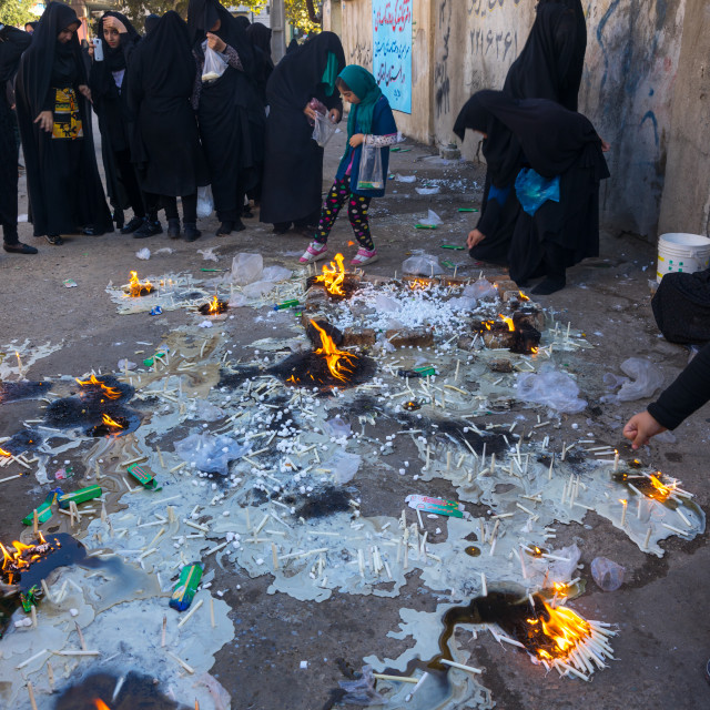 """Iranian Women Light Candles During Chehel Menbari Festival On Tasua To..."" stock image"