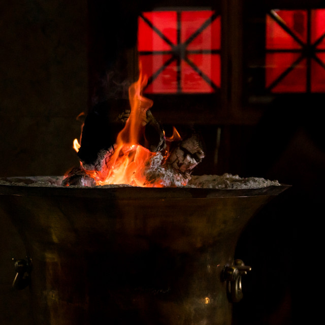 """""""The Eternal Flame Which Has Burned Continuously For 1, 500 Years At The..."""" stock image"""