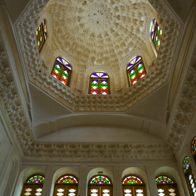 """""""Ceiling With Its Intricate And Elaborate Patterns In Aghazadeh Mansion, Fars..."""" stock image"""
