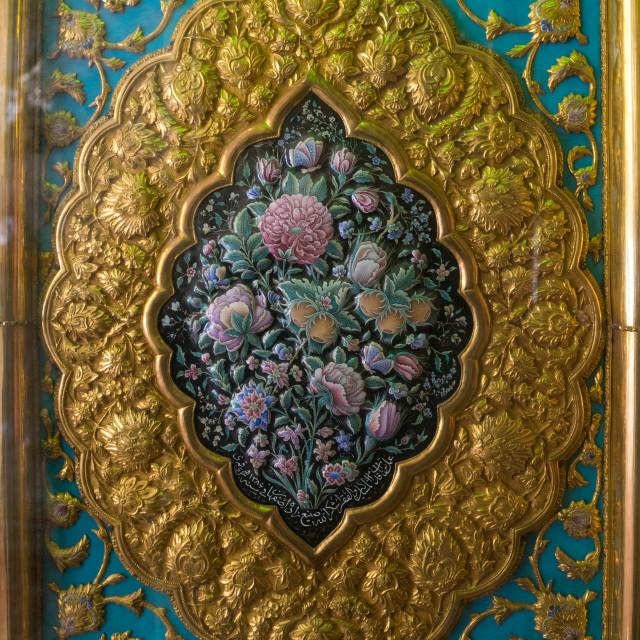 """Decoration On The Door Of The Shah-e-cheragh Mausoleum, Fars Province,..."" stock image"