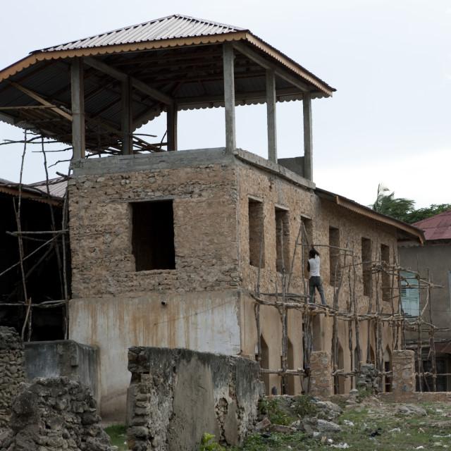 """Renovation in bagamoyo, Tanzania"" stock image"