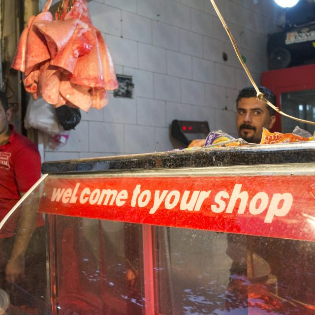 """""""Butcher In The Bazaar, Kermanshah, Iran"""" stock image"""