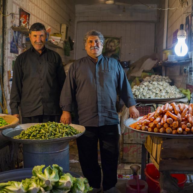 """""""Men Selling Fruits In The Bazaar, Kermanshah, Iran"""" stock image"""