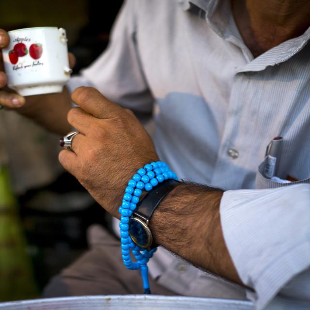 """""""Man Drinking Tea, Kermanshah, Iran"""" stock image"""