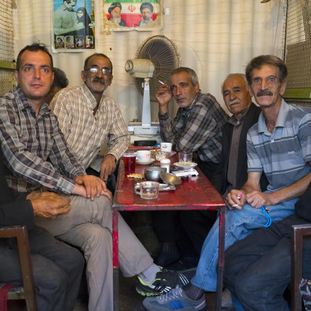 """""""Men Drinking Tea In A Cafe, Kermanshah, Iran"""" stock image"""