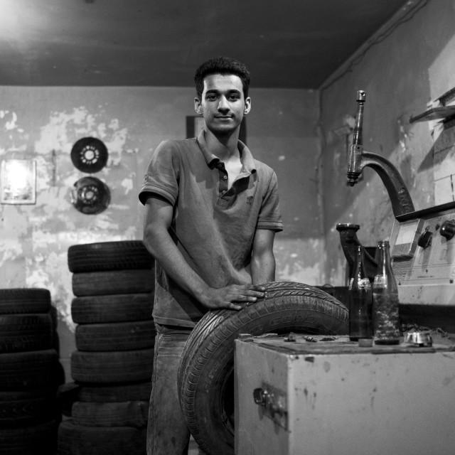"""""""Man In A Garage, Kermanshah, Iran"""" stock image"""