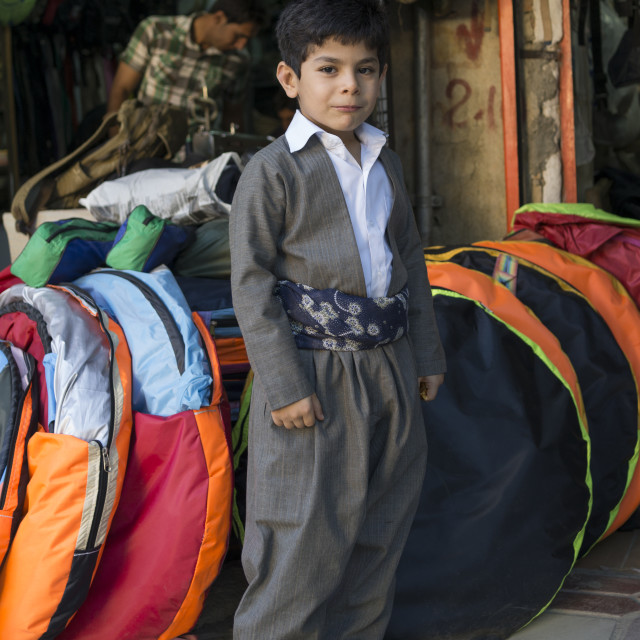 """Child With Traditional Kurdish Suit, Marivan, Iran"" stock image"
