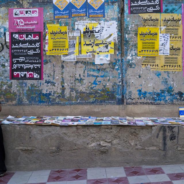 """Man Selling Books In The Street, Marivan, Iran"" stock image"