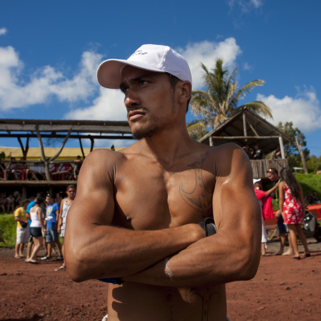 """Tattooed Man Ready For Canoe Competition, Easter Island, Chile"" stock image"