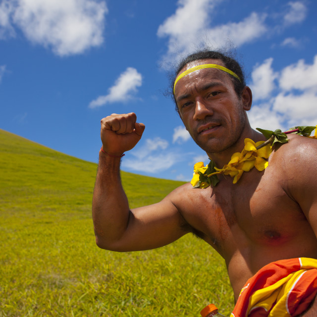 """Winner Of Tau' A Rapa Nui Race Competition During Tapati Festival, Easter..."" stock image"
