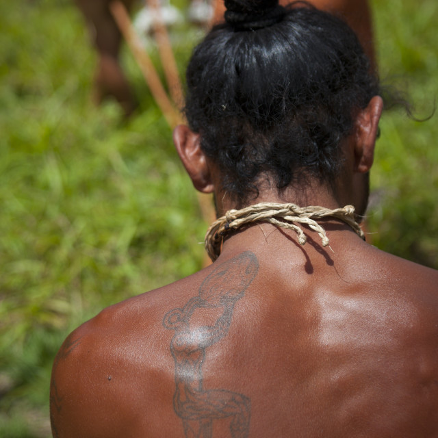 """Tattoo On The Shoulder Of A Native Man, Easter Island, Chile"" stock image"