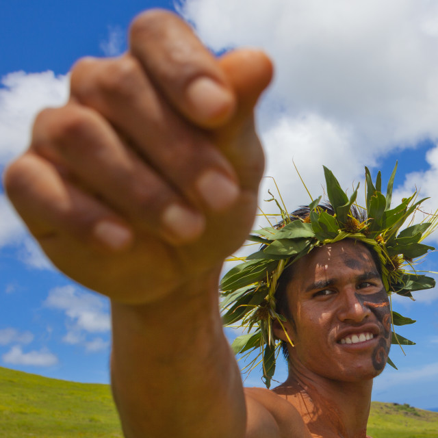 """Man With Traditional Headdress And Make Up In Tapati Festival, Easter Island,..."" stock image"