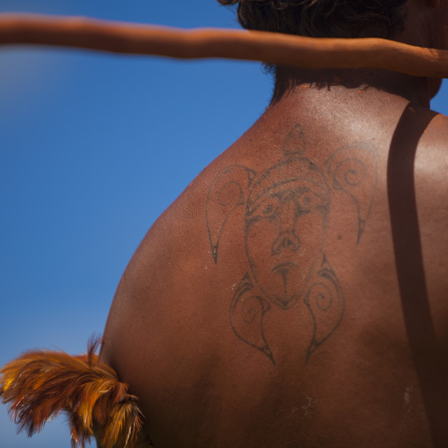 """Back Of A Native Man During Spear Competition, Tapati Festival, Easter..."" stock image"