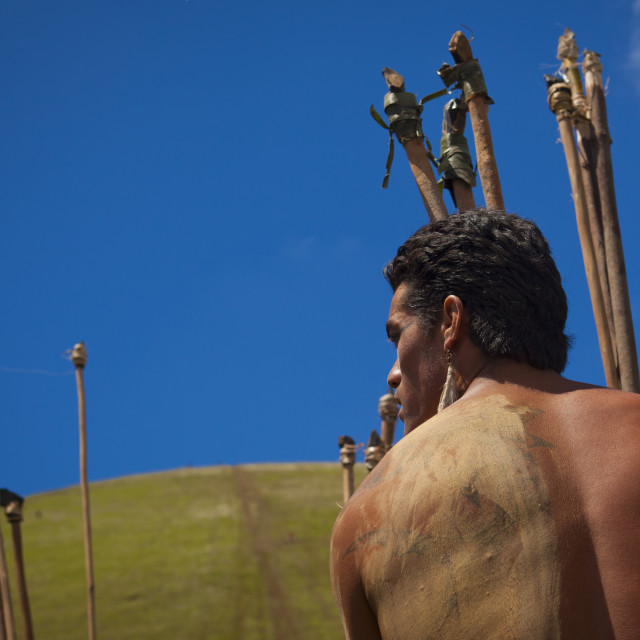 """Spear Competition During Tapati Festival, Easter Island, Chile"" stock image"