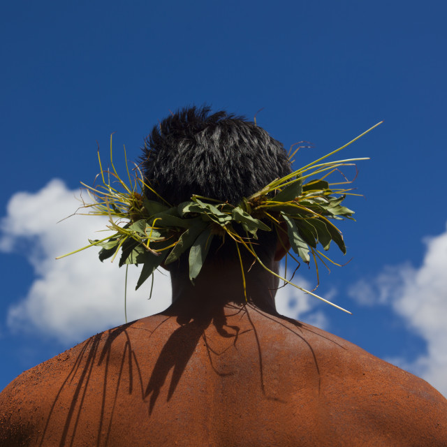 """Man With Traditional Headdress In Tapati Festival, Easter Island, Chile"" stock image"