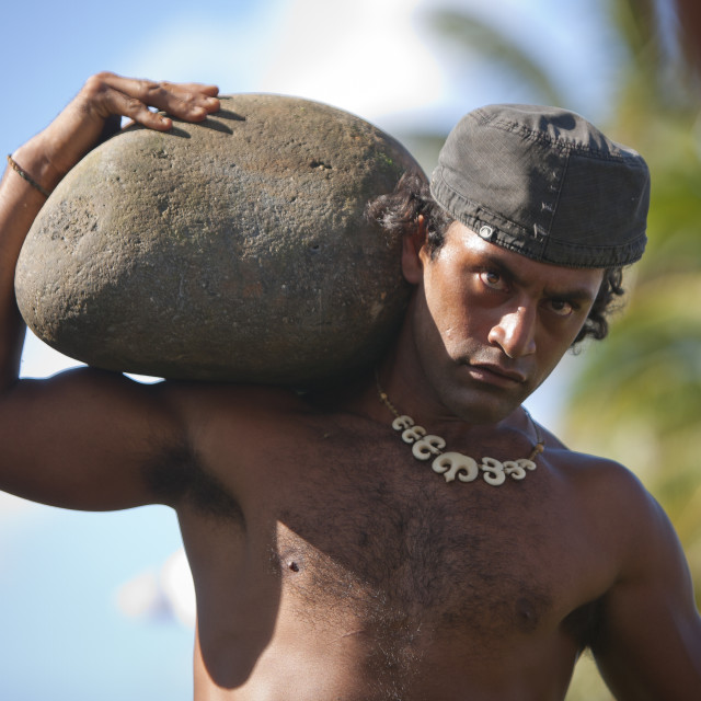 """Stone Compettion At Anakena Beach During Tapati Festival, Easter Island, Chile"" stock image"