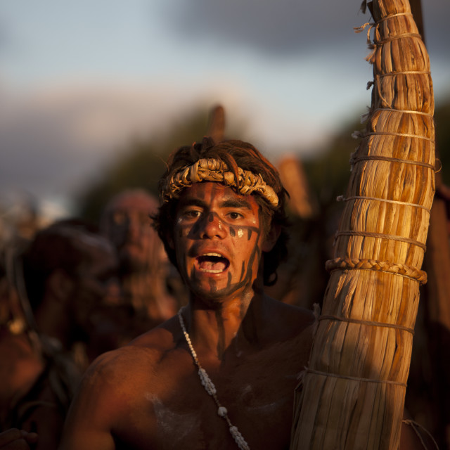 """Man With Totora Boat During Tapati Festival, Easter Island, Chile"" stock image"