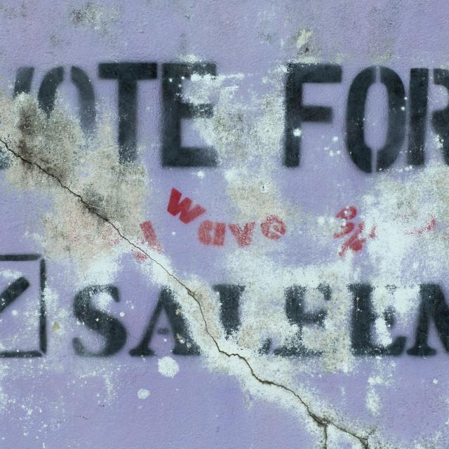 """Election Propaganda, Eydhafushi, Baa Atoll, Maldives"" stock image"