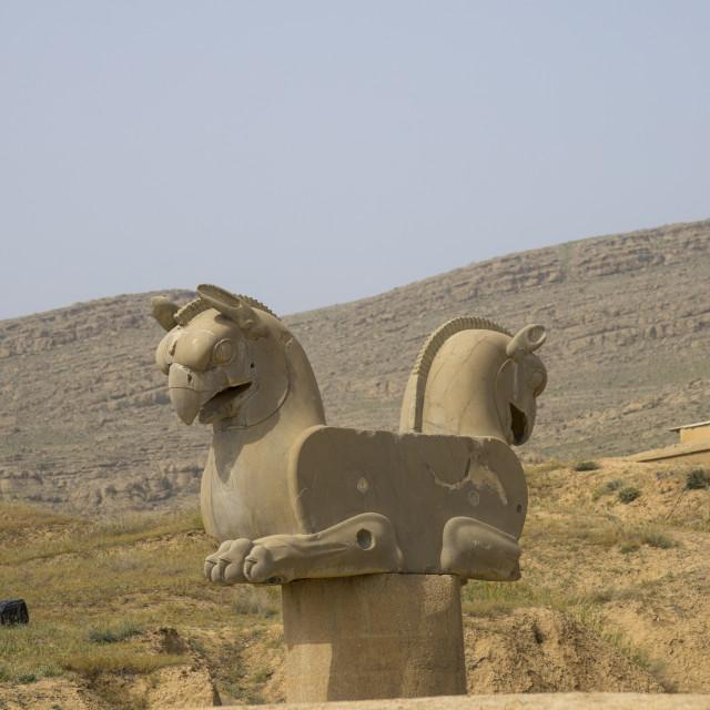 """Achaemenid griffin, Fars province, Persepolis, Iran"" stock image"